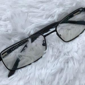 Prada Ladies Eyeglasses Frame Black Metal Plastic